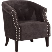 Linon Tyrone Tufted Barrel Chair, Charcoal, 18 inch Seat Height