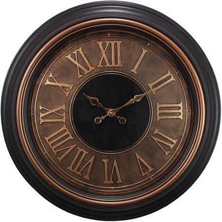 Large 23 wall clock with black and silver trim and raised roman numerals - Large roman numeral wall clocks ...