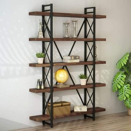 LITTLE TREE Solid Wood 5 Shelf Industrial Style Bookcase and Book Shelves, Metal and Wood Free Vintage Standing Storage Shelf Units ()