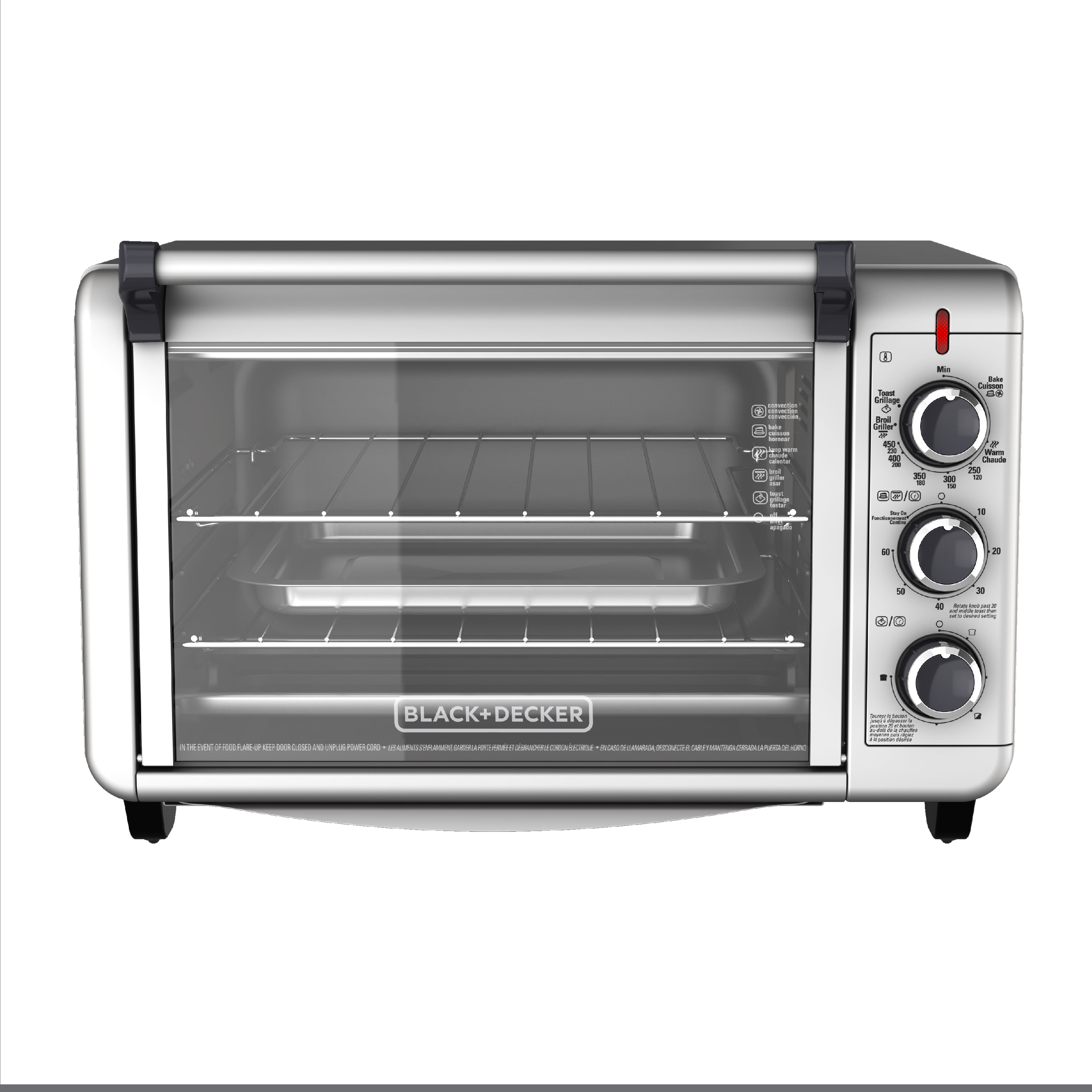 BLACK+DECKER Convection Countertop Oven, Stainless Steel, TO3000G -  Walmart.com