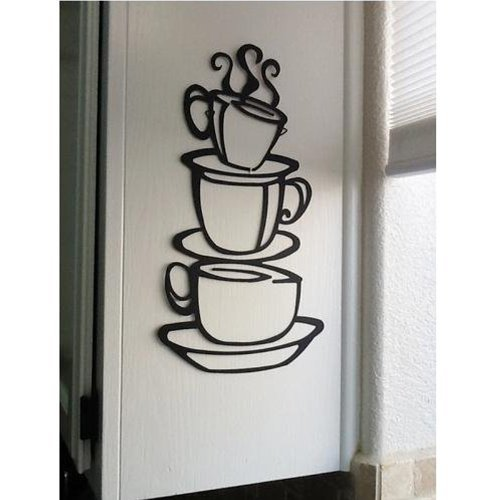 Coffee Cup Double sided visual Removable Wall Vinyl Sticker Decals Decor Art Bedroom Design Mural