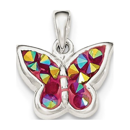 Leslies Fine Jewelry Designer 925 Sterling Silver Pink Crystal Butterfly Pendant Gift