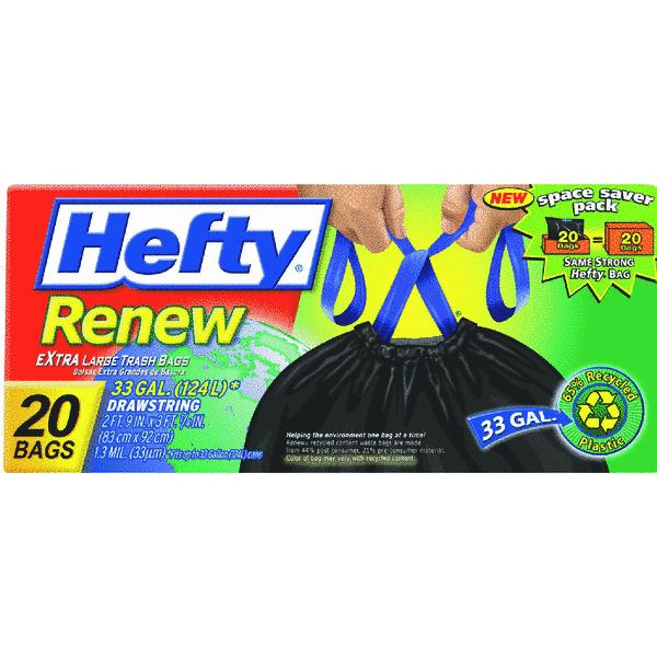 Renew Recycled Kitchen & Trash Bags, 33gal, 1.1mil, 24 x 27 1/4, Black
