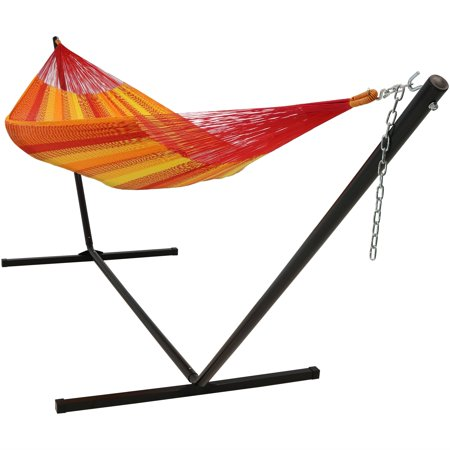 Sunnydaze Hand-Woven 2 Person Mayan Hammock with Stand, Matrimonial Size, Tequila, 400 Pound Capacity