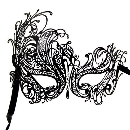 Black Swan Metal Filigree Laser Cut Venetian Masquerade Mask with Clear Crystals