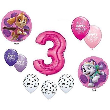 GIRL'S PAW PATROL Dog 3rd #3 THIRD Pink 10 Piece Birthday Party Mylar Latex Balloons - Mylar Party Balloons