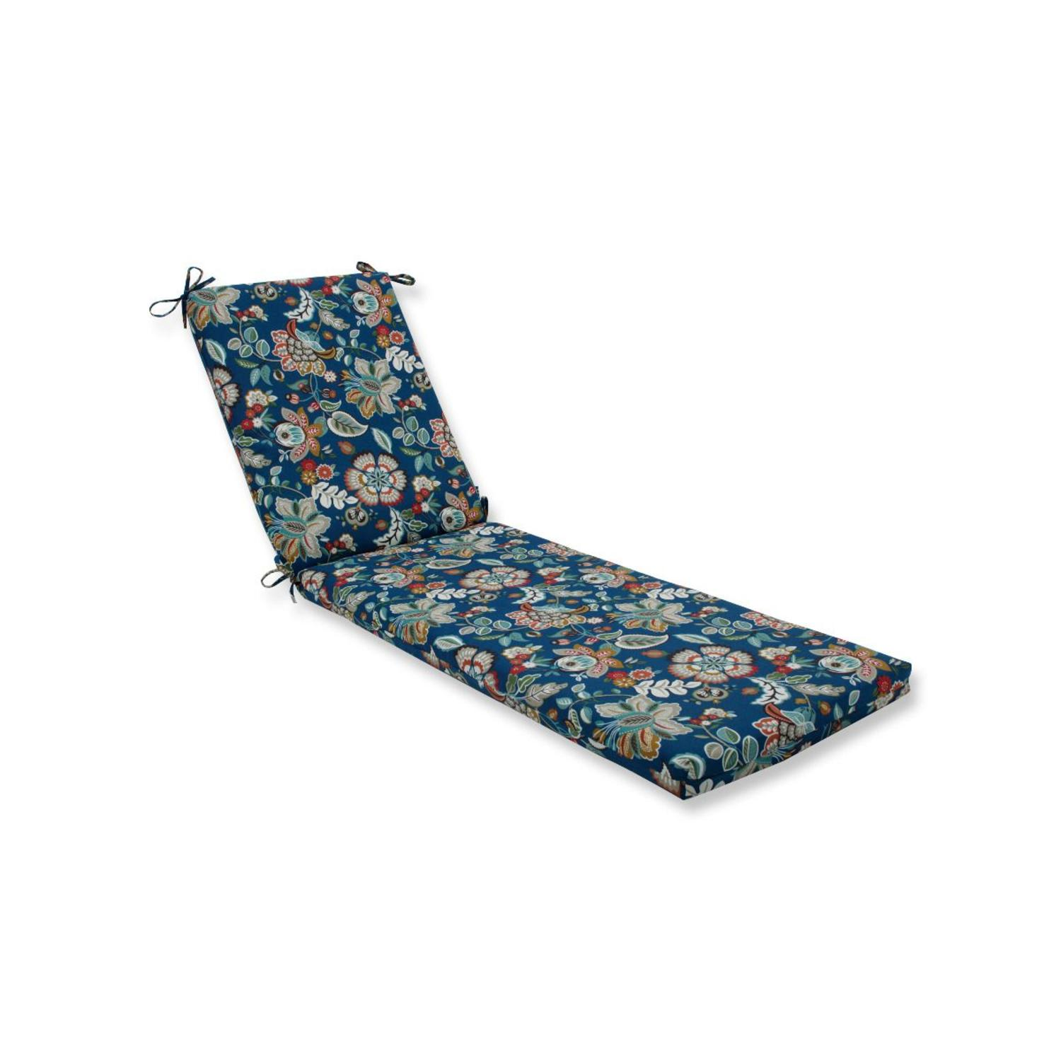 """80"""" Blue Floral UV/Fade Resistant Outdoor Patio Chaise Lounge Cushion with Ties"""