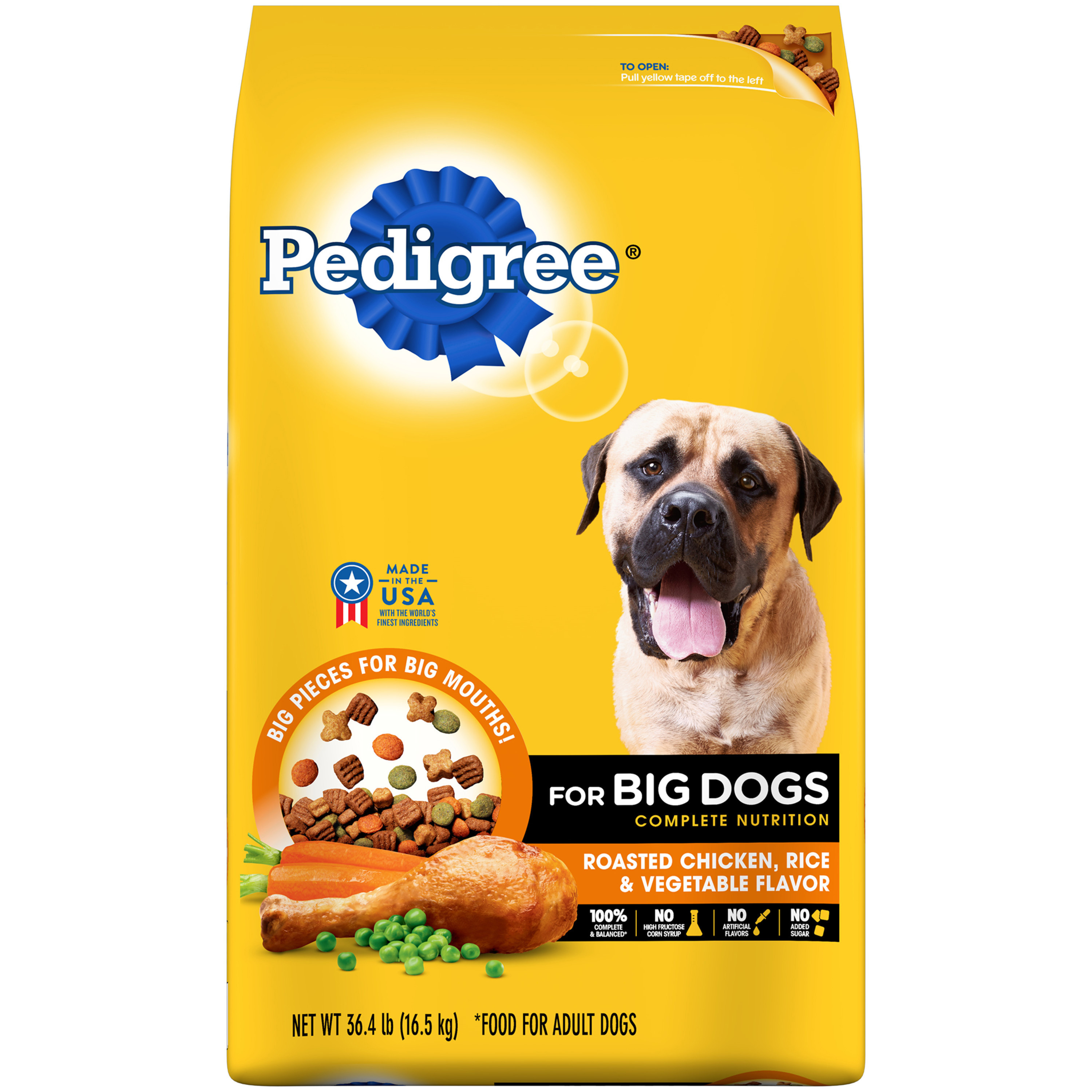 PEDIGREE For Big Dogs Adult Complete Nutrition Dry Dog Food, Roasted Chicken, Rice & Vegetable, 36.4 Lb
