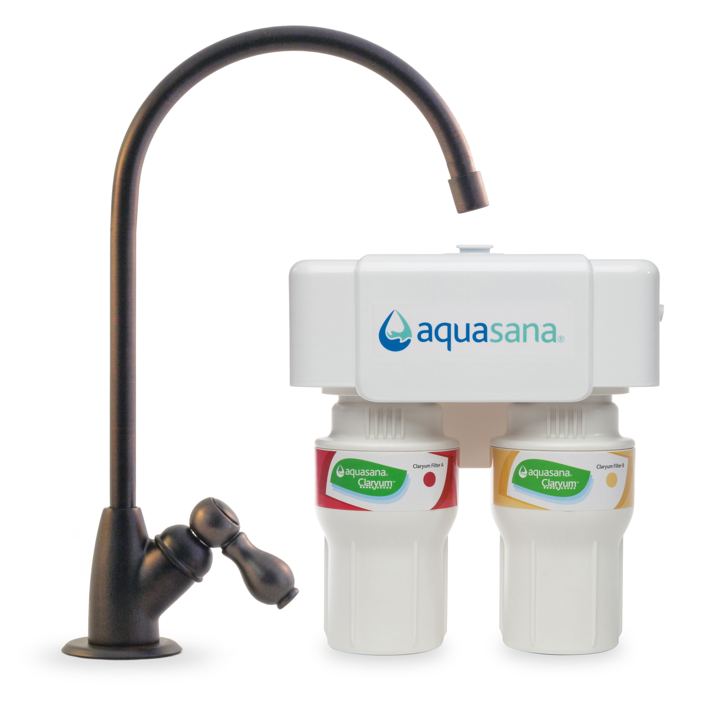 Aquasana AQ-5200.62 2-Stage Under Counter Water Filter System with Oil Rubbed Bronze Faucet