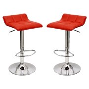 Adjustable Barstool in Red - Set of 2
