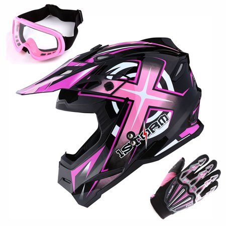 1Storm Adult Motocross Helmet BMX MX ATV Dirt Bike Helmet Racing Style HF801 + Goggle + Gloves Bundle; Sonic Pink