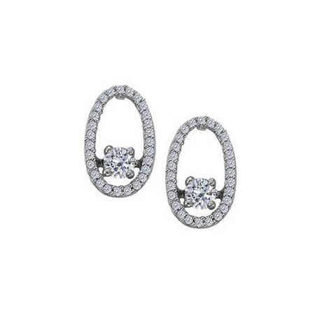 Fine Jewelry Vault Ubner40863w14cz Dancing Diamonds Earrings With Cubic Zirconia In 14k White Gold