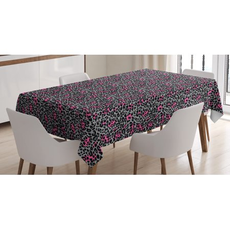 Leopard Print Tablecloth, African Safari Animal Pattern Nature Inspired Fashion Cheetah Panther, Rectangular Table Cover for Dining Room Kitchen, 60 X 84 Inches, Pink Grey Black, by Ambesonne - Animal Print Tablecloth