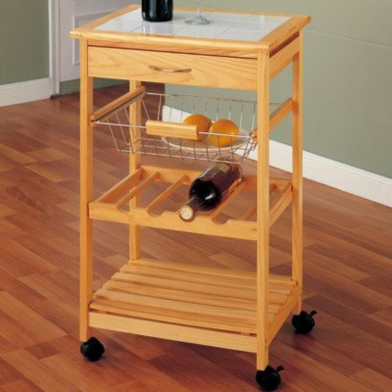 organize it all providence kitchen cart with basket - walmart