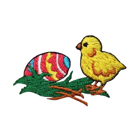 ID 3348B Chick With Easter Egg Patch Spring Holiday Embroidered Iron On Applique