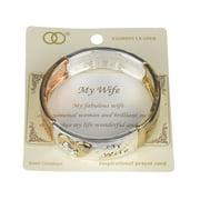 """My Wife Inspirational Hammered Stretch Bracelet with Prayer Card """"My Fabulous Wife?"""" - Jewelry Nexus"""