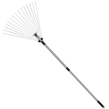Docamor 63-Inch Adjustable Steel Lawn Rake, Garden Leaf Rake with 15 Round Tines, Rounded Tips, Telescopic Handle, Expandable Head from 7.5 to 23.2 Inches, for Gardens Yards Flower Beds Small