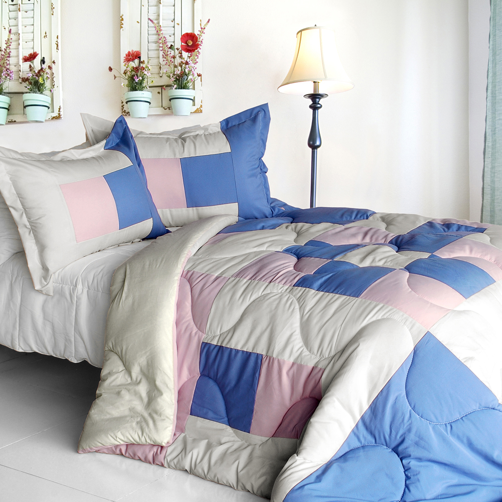 [Dream Wings] Quilted Patchwork Down Alternative Comforter Set-Twin