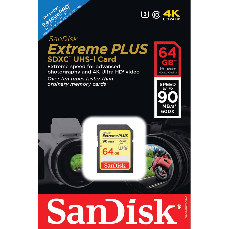 SanDisk 64GB SDSDXSF-064G-ANCIN SanDisk Extreme PLUS SDXC UHS-I Card, Class 10
