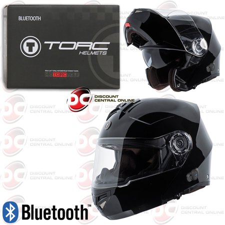 Torc T27B Modular Motorcycle Helmet With Bluetooth Communication Gloss Black (Large) ()