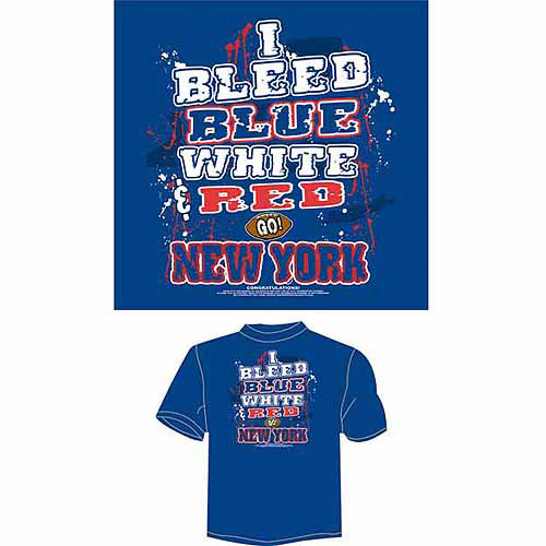 "New York Football ""I Bleed Blue, White and Red, Go New York"" T-Shirt, Blue"