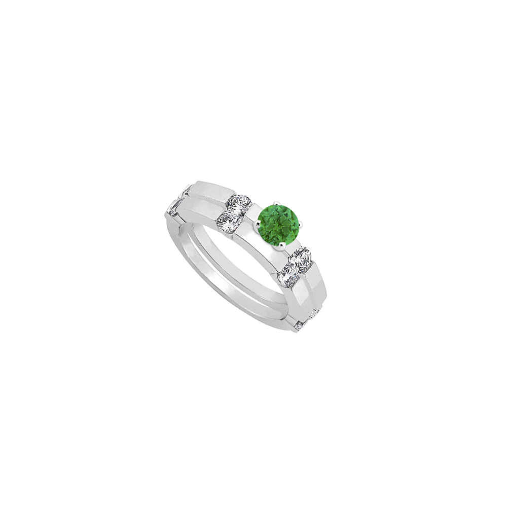 Emerald and Diamond Engagement Ring with Wedding Band Set 14K White Gold 1.30 CT TGW - image 2 de 2