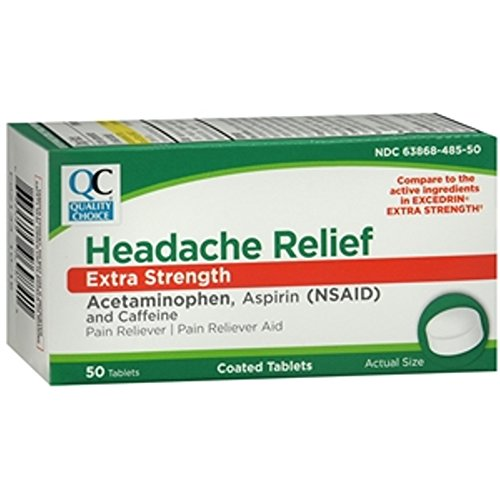 5 Pack QC Headache Relief Extra Strength 50 Tabs (Compare to Excedrin) Each