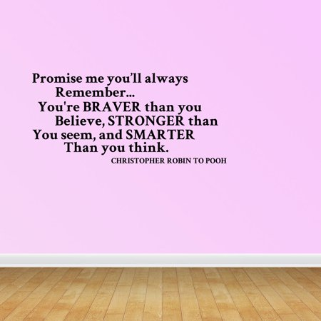 Wall Decal Quote Youre Braver Than You Believe Stronger Than You