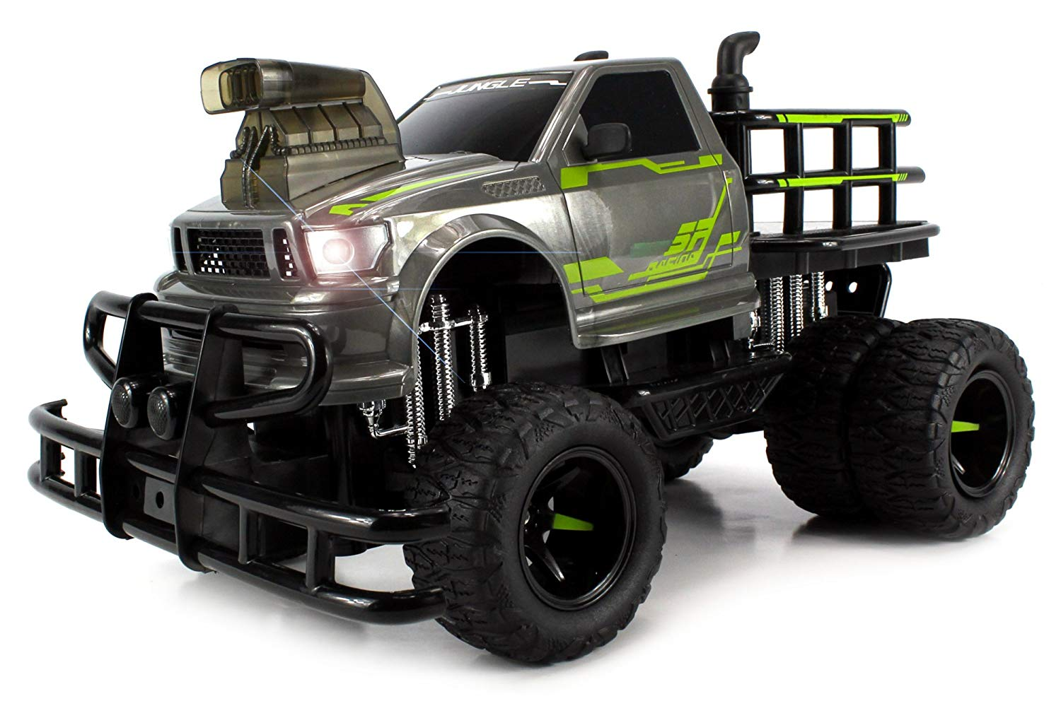 1:12 Scale RTR w  Working Headlights, Dual Rear Wheels (Colors May Vary), Jungle Sky Thunder Dual Electric RC... by Velocity Toys
