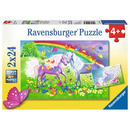 Rainbow Horses - (2 x 24) Piece Jigsaw Puzzles - Ravensburger