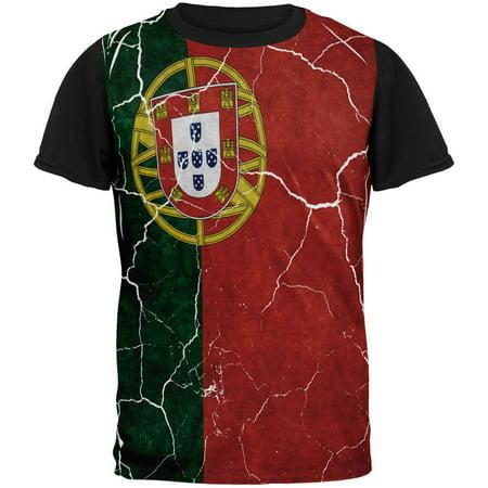 Distressed Portuguese Flag All Over Mens Black Back T Shirt