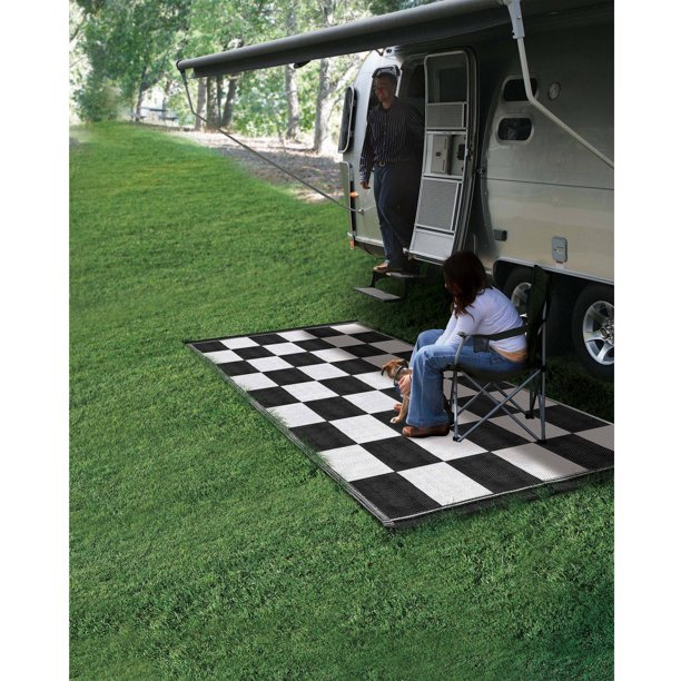 Camco 6 X 9 Reversible Rv Outdoor Mat Camping Mat Checkered Walmart Com Walmart Com