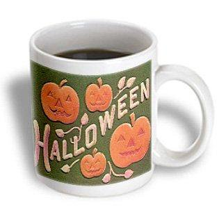 3dRose Vintage Halloween Jack o Lanterns, Ceramic Mug, 11-ounce