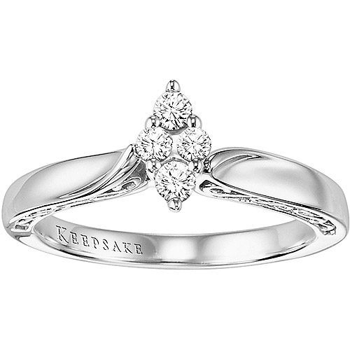 Keepsake Enchanted 1/5 Carat T.W. Diamond Marquise Ring in 10kt White Gold