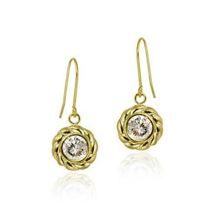 10K Gold CZ & Twisted Border Dangle Earrings