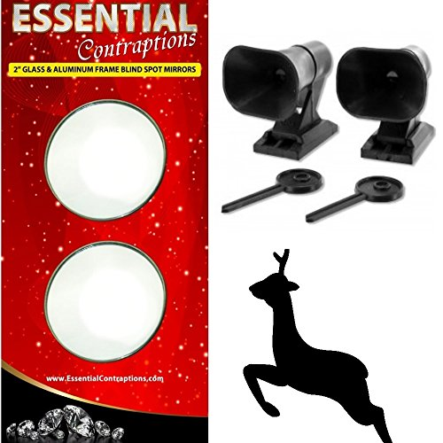 Car Mirror Blind Spot Mirrors And Deer Alert Warning Whistles [BUNDLE PACK] - Self Stick Wind Activated Wildlife Warning Device & 2 inch Pair Self Stick Blind Spot Mirror - Essential For Every Vehicle