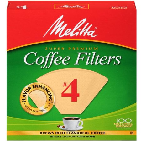 (6 Pack) Melitta #4 Natural Brown Cone Coffee Filters, 100 (Melina Mall)