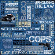 "Karen Foster Law Enforcement Paper, 12"" x 12"", 25pk, Collage"