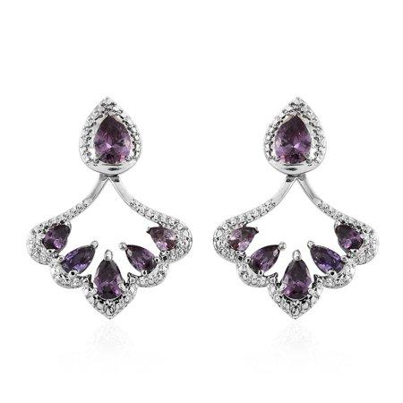 - Stainless Steel Pear Cubic Zircon Amethyst Jacket Earrings for Women