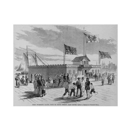 Free Swimming Baths, Foot of Fifth Street, East River. from a Sketch by Stanley Fox. Print Wall Art