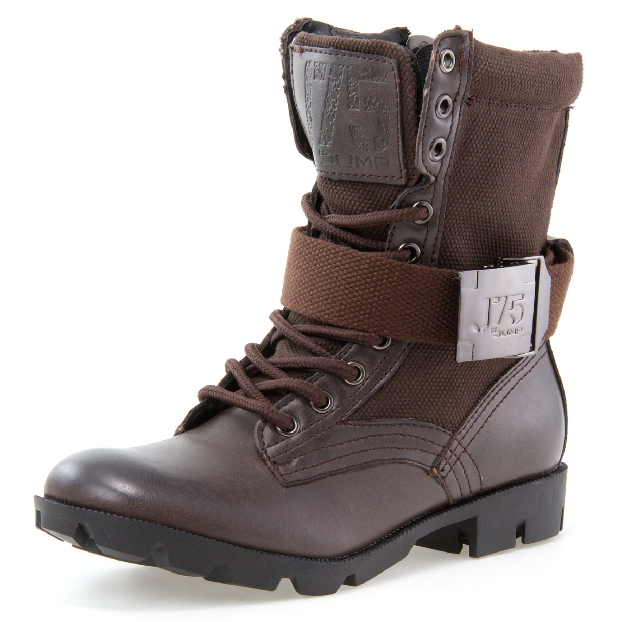 J75 by Jump STRONG Women Round Toe Mid-Calf Military Boot Brown M US 5 Women