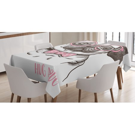 Pug Tablecloth, Cute Pug with Pink Bow Tie and Oversized Glasses Hand Drawn Domesticated Animal, Rectangular Table Cover for Dining Room Kitchen, 60 X 90 Inches, Black Pink White, by Ambesonne - Oversized Tablecloths