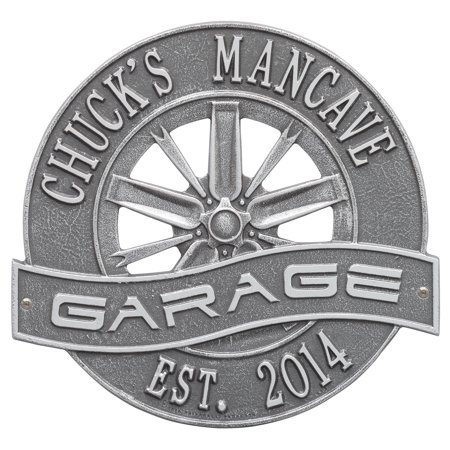 Personalized Whitehall Products 0.34-Inch x 12-Inch Racing Wheel Garage Plaque in Pewter Silver