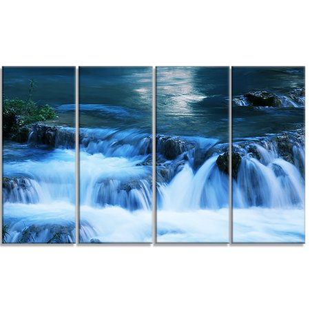 Design Art 'Beautiful Small Blue Waterfalls' 4 Piece Photographic Print on Wrapped Canvas Set