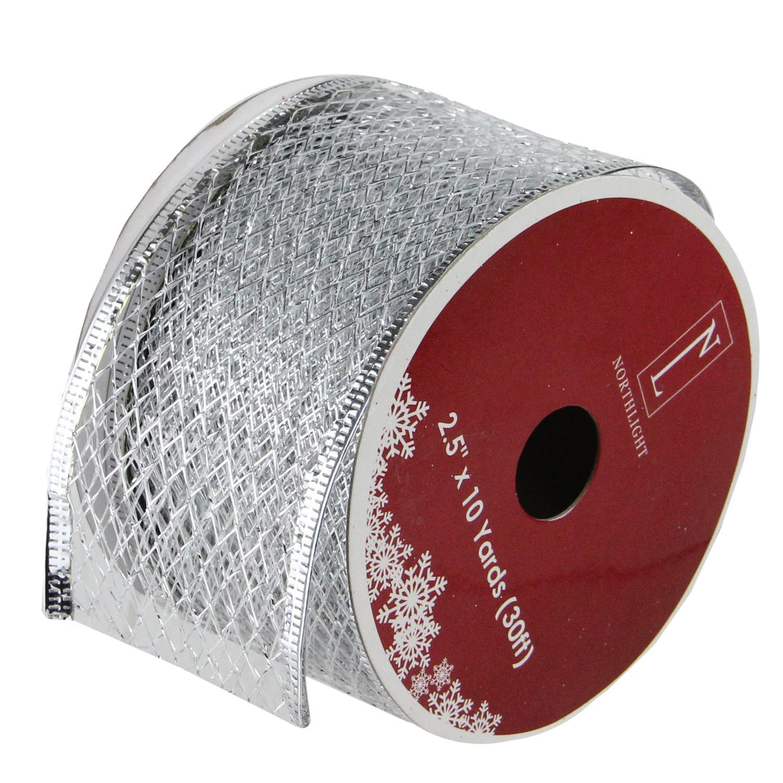"Glittering Silver Metallic Lattice Wired Christmas Craft Ribbon 2.5"" x 10 Yards"