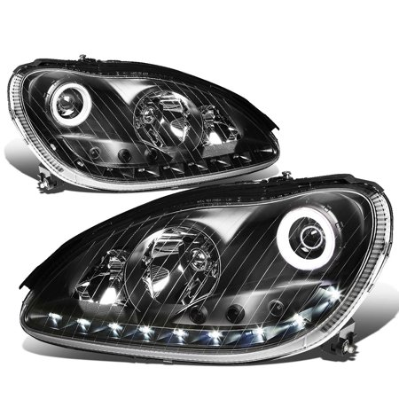 For 2000 to 2006 Mercedes -Benz S -Class W220 LED Halo Ring Projector Headlight Black Housing Headlamp 01 02 03 04 05 S350 S430 S500 S600 S65