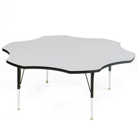 Correll EconoLine Melamine Top Short Leg Adjustable Height Activity Table - Flower - 60 in. 60' Flower Activity Table