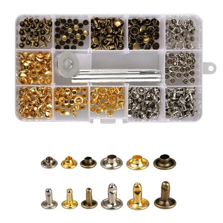 TSV 180 Sets Leather Rivets Double Cap Rivet Tubular Metal Studs 2 Sizes with 3 Pieces Setting Tool Kit for Leather Craft Repairs Decoration, 3 Colors
