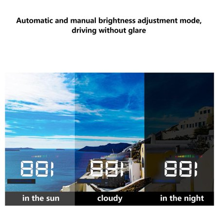 Ejoyous A500 Head Up Display,Car HUD Display,3.5inch A500 Universal Car HUD Head Up Display RPM Overspeed Warning OBD2 Windshield Projector - image 2 of 13