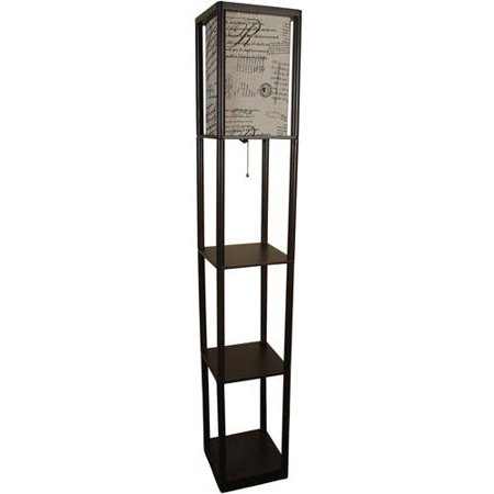 Mainstays shelf floor lamp with script shade Floor lamp with shelves